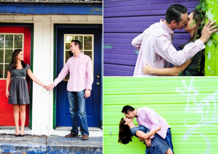 Bright red, blue, purple and green backdrops for casually dresses nearlyweds' engagement photos