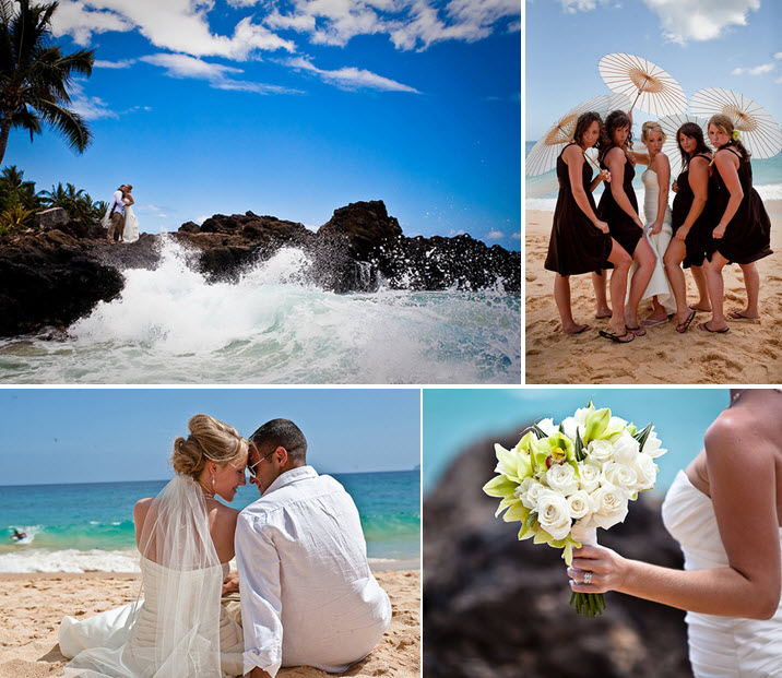 Gorgeous white lime green and chocolate brown beach wedding in Maui Hawaii
