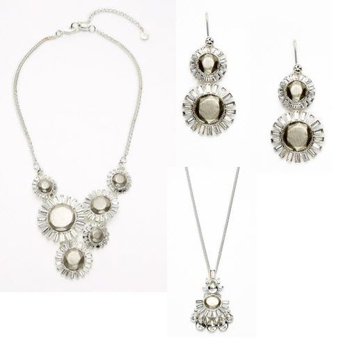 Flower drop silver and crystal bib necklace, pendant and earrings from Nicole Miller