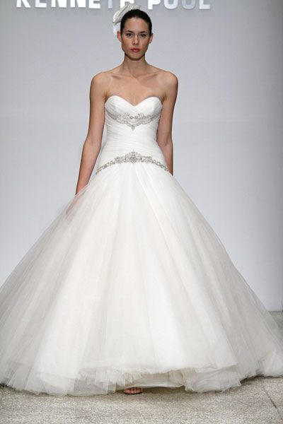 Kenneth Pool wedding dress- Harmony, dramatic ball gown with full tulle skirt and silver embroidery