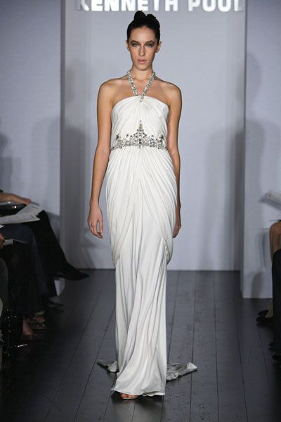 Kenneth Pool wedding dress- Brilliance, in silk jersey material with sweep train