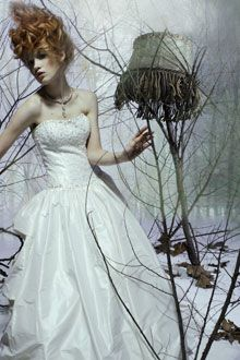 Silk taffeta balloon wedding dress by Demetrios, perfect for a winter wedding