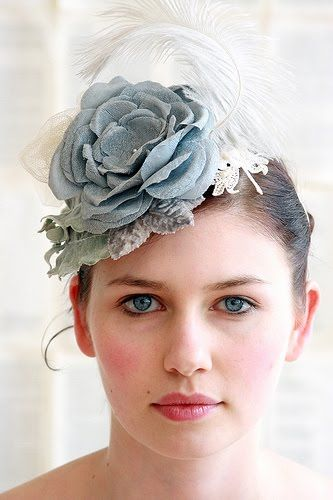 Make a statement in this bluegrey shabby chic bridal flower fascinator