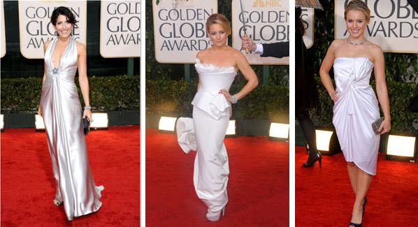 Golden Globes 2010 White Gowns Red Carpet Lisa Edelstein, Kate Hudsen, Kristen Bell