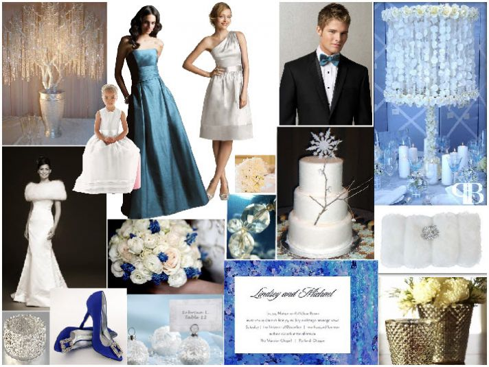 Winter white, icy blue, and shimmery silver- perfect color combination for your winter wedding