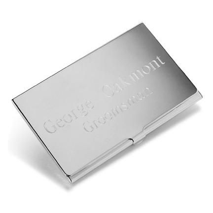 Silver Plated Business Card Holder Monogrammed Personalized valentine's day gift