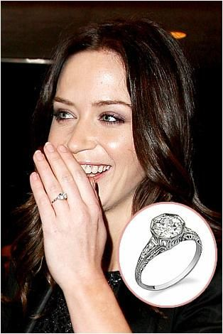 Emily Blunt wears her traditional round diamond and platinum engagement ring