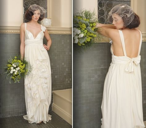 Romantic and flirty empire waist wedding dress featuring handsewn organic