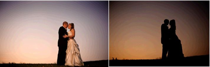 """Bride and groom kiss on hill during beautiful sunset after saying """"I Do"""""""
