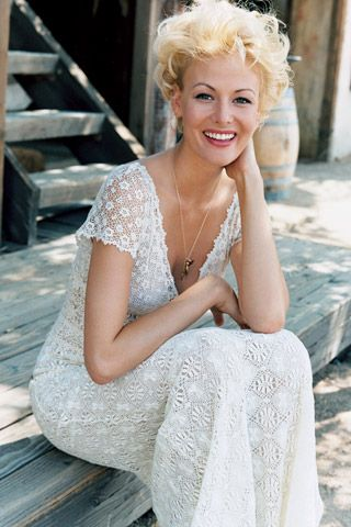 Perfect for a backyard rustic chic wedding, casual lace v-neck wedding dress
