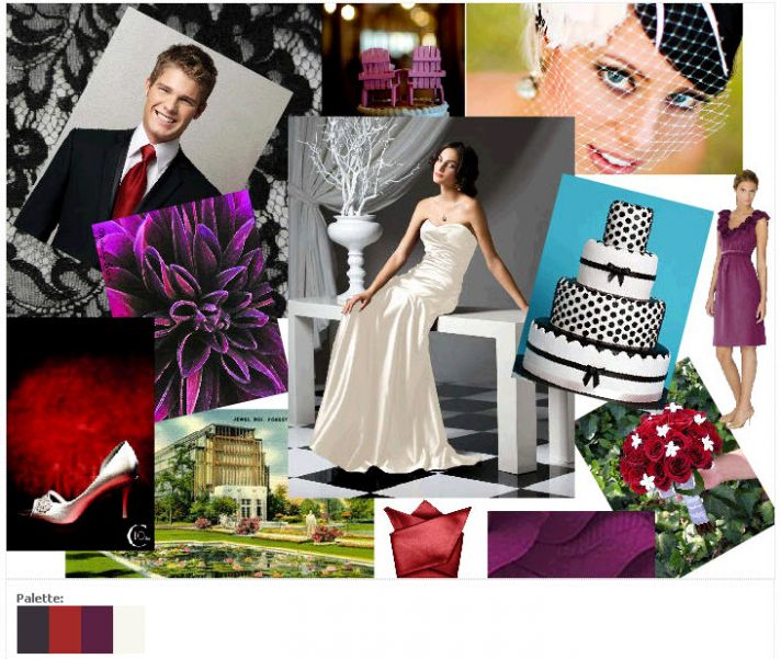 Rich and luxurious scarlett red, eggplant purple, and black wedding color palette