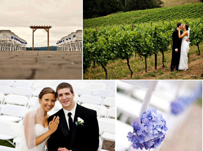 Gorgeous setting for an outdoor wedding- a beautiful winery! Bride and groom kiss beneath green lush