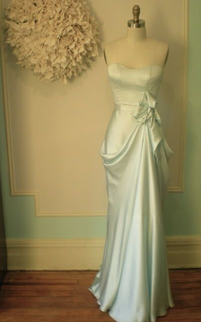 Slinky hammered silk strapless wedding dress- perfect mix of vintage sophistication and modern flair