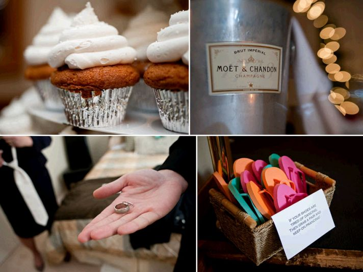 Chic wedding details- carrot cake cupcakes, Moet Chandon champagne, colorful flip flops for receptio