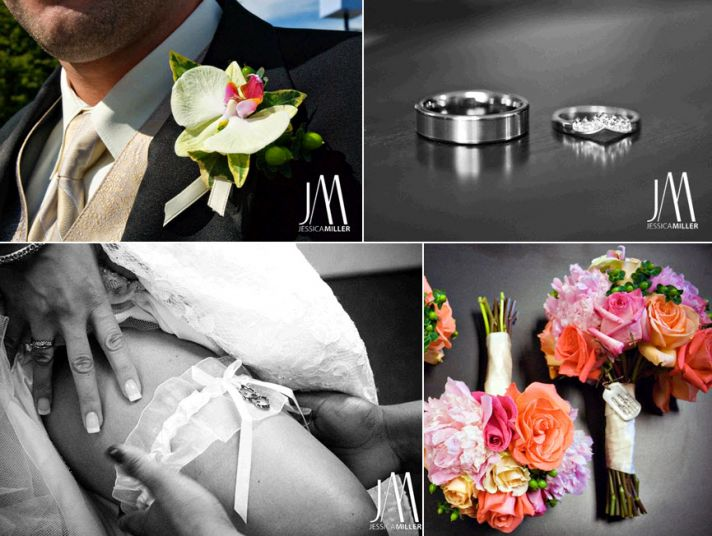 Groom wears black classic tux with champagne tie, orchid boutiniere; artistic photo of wedding bands