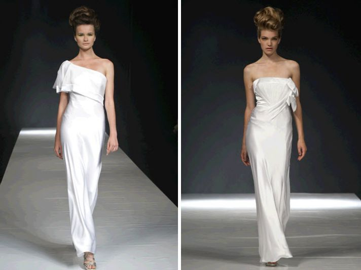 White, modern, minimal David Fielden wedding dresses
