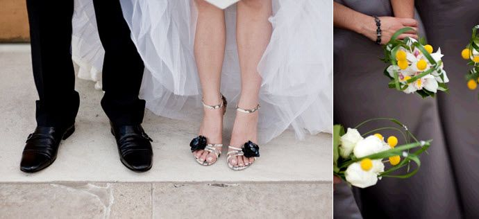 Artistic wedding photo- bride and groom from the knees down, black tuxedo, ivory wedding dress, open