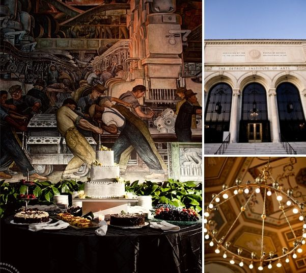 Beautiful dessert table arranged in front of famous mural; outside of museum wedding venue
