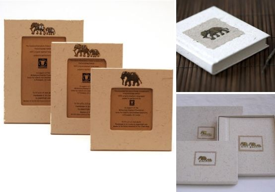 Eco-friendly wedding photo frame option: frames made from elephant dung!