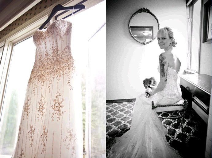 Ivory sweetheart neckline mermaid beaded wedding dress hangs in window
