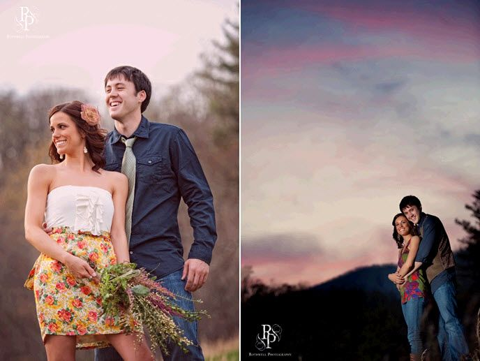Beautiful blue and violet sunset and sky- perfect backdrop for this engagement session