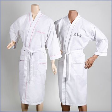 Fun Mr. and Mrs. Honeymoon resort robe set for the bride and groom