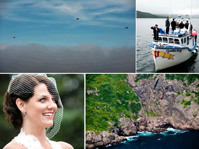 Groom and groomsmen ride fishing boat to island for wedding ceremony; bride goes vintage-chic with w