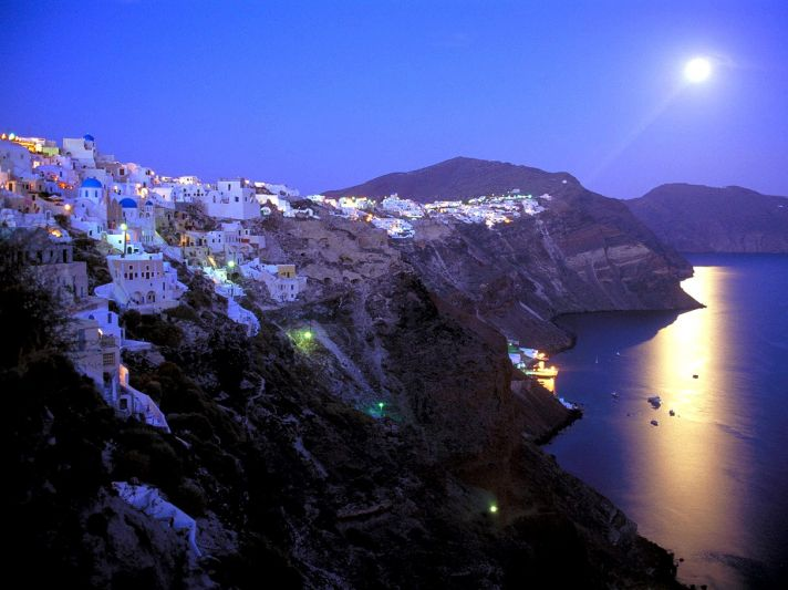 Moonrise over Santorini, Greece