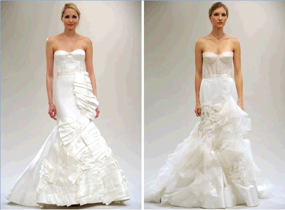 Gorgeous trumpet wedding dresses with corset bodices by Reem Acra