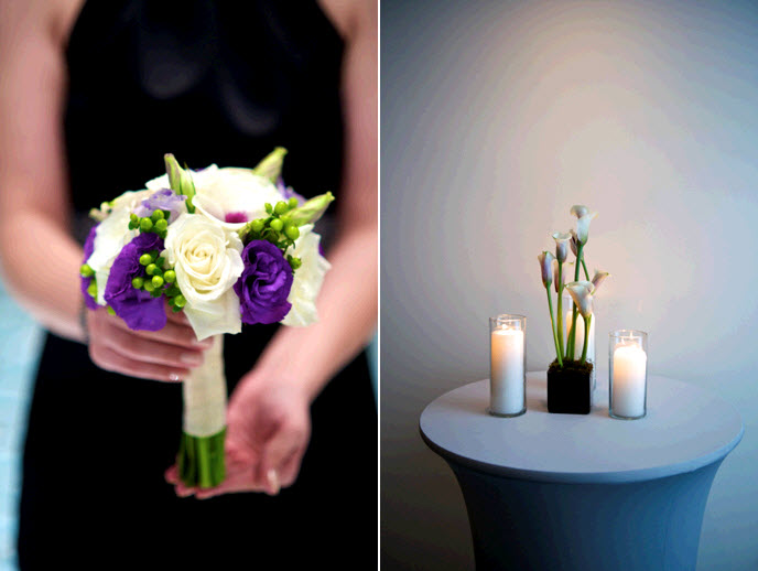 Purple Green White Orchids Collection Bridal Bouquet Round Hand Tied Design Option 1
