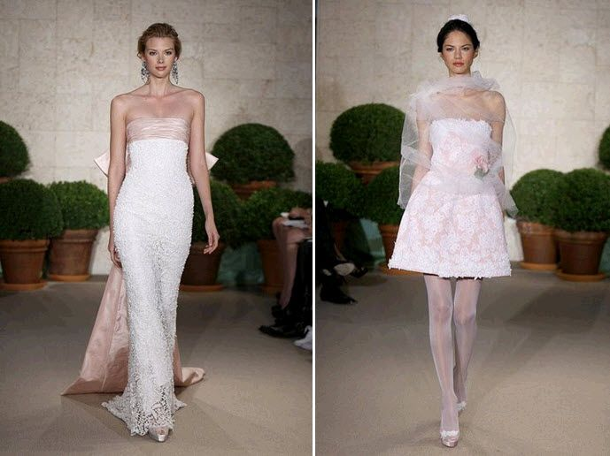 Spring 2011 Oscar de la Renta wedding dresses with blush pink fabric beneath lace overlay
