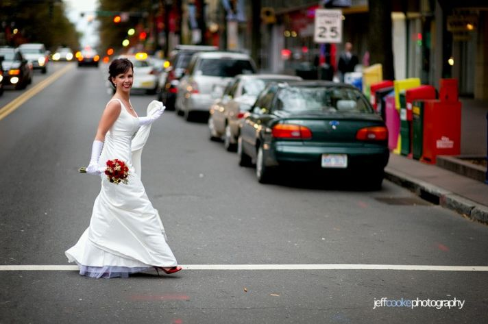 Real bride wears perfectly fitted Mikaella white wedding dress with scoop neck and empire a-line sil