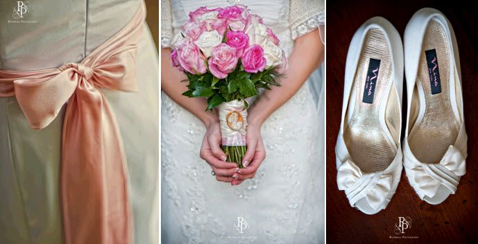 Bride holds pink and white rose bridal bouquet; peep toe ivory bridal heels