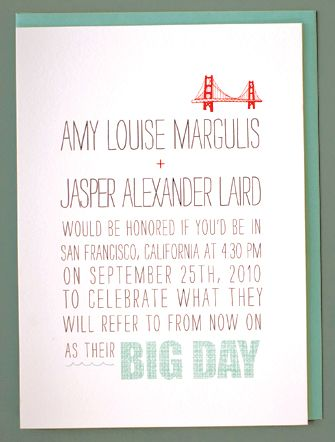 Hip white, coal grey, and aqua wedding invitations with artistic 1950s touches