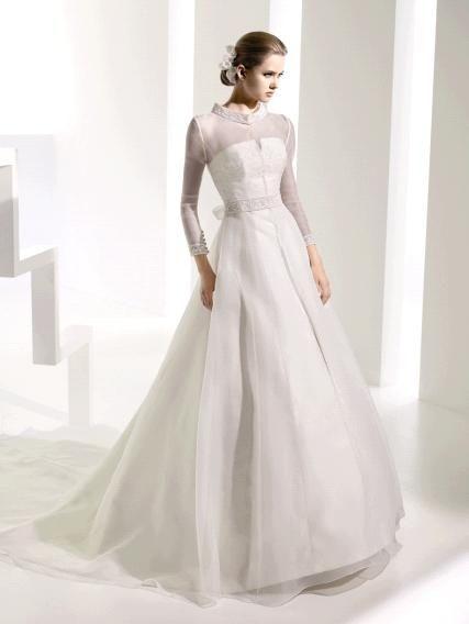 Modest long sleeve a-line ivory wedding dress