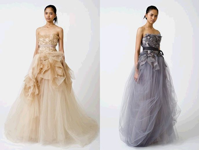 Daring 2011 Vera Wang wedding dresses- blush, nude, grey and purple hues, clouds of tulle