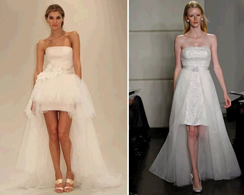 Fashion-forward mini wedding dresses with sweeping trains from Reem Acra and Badgley Mischka