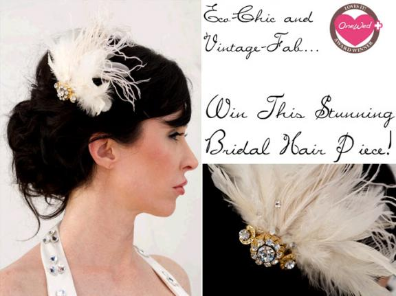 OneWed loves this vintage bridal hairpiece made with feathers crystals and