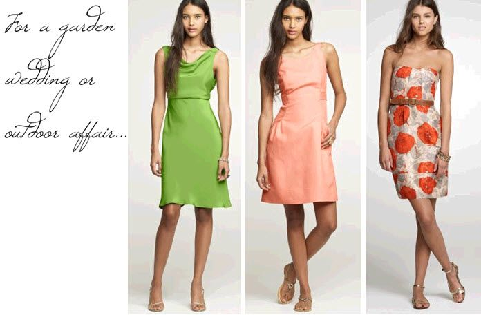 Bright, cheerful J.Crew bridesmaids' dresses- one with a gorgeous bold floral print