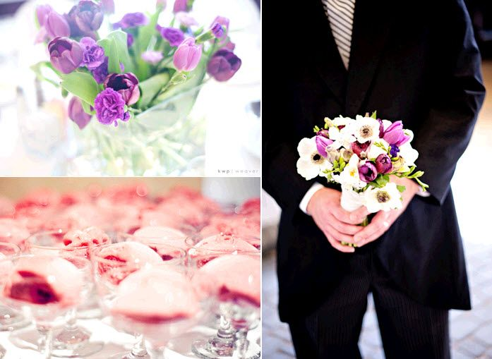 Groom in formal tux holds bride's bridal bouquet; purple tulips as wedding reception centerpieces