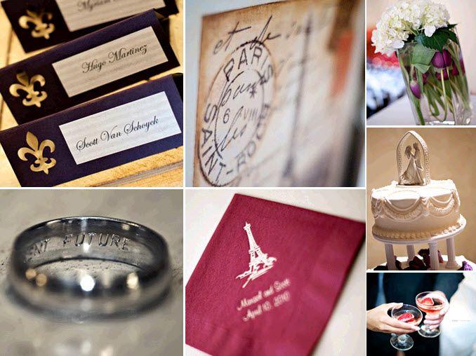 Gorgeous wedding details with a Parisian theme- fleur-de-li on escort cards, Eiffel Tower on cocktai