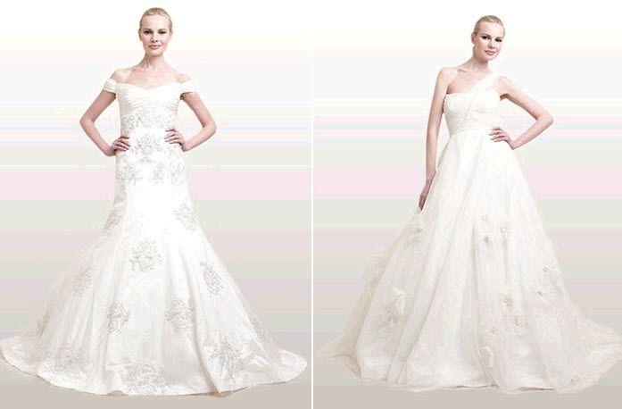 Modern, sophisticated Ann Frances wedding dresses- off the shoulder and asymmetric neckline