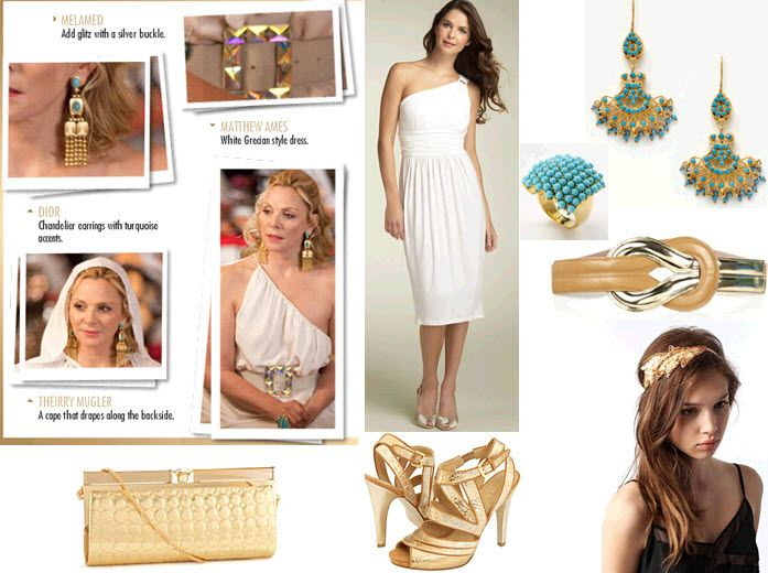 Look like a gold and turquoise goddess like Samantha from SATC2!
