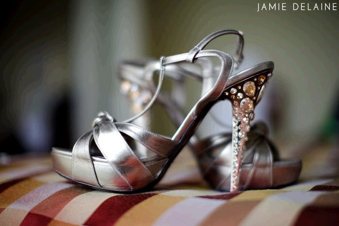 Sky high silver platform open toe bridal heels with rhinestone encrusted heels