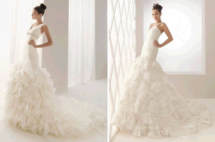 White Aire Barcelona dramatic mermaid wedding dresses with tiered ruffles