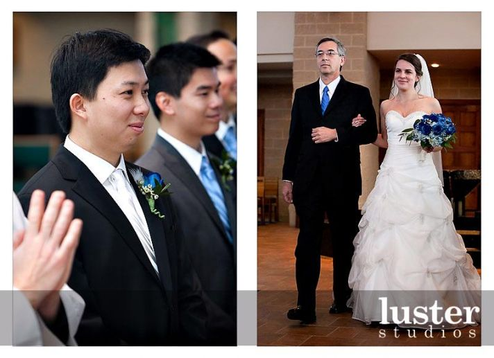 Groom in formal black tux, white silk long tie, waits for bride as she walks down the aisle