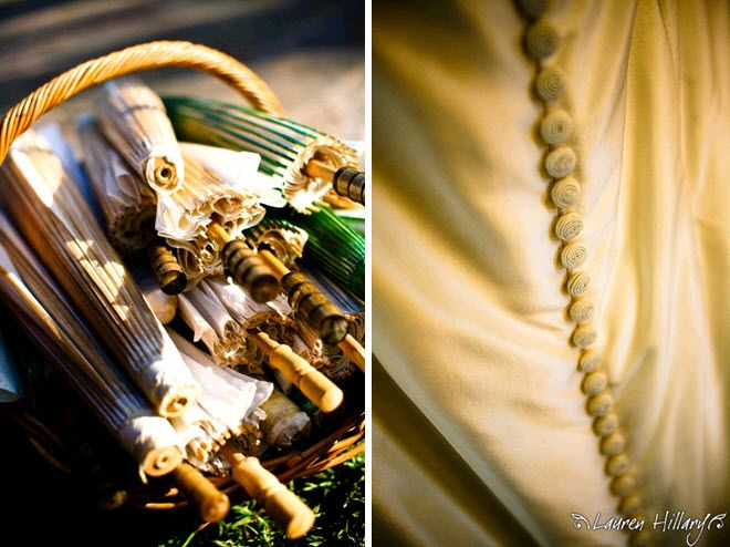 Ivory and green parasols in basket for wedding guests; covered buttons on back of ivory wedding dres