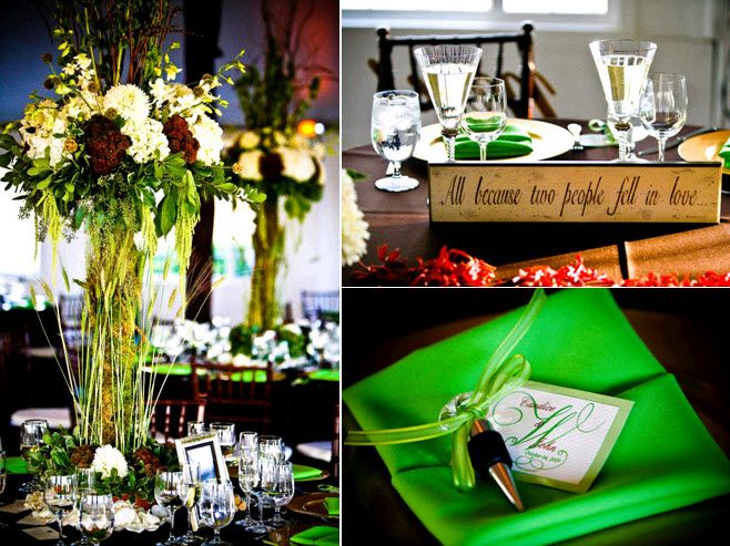 Stunning high floral topiaries with ivory, maroon and green flowers; bright green napkin with wine t