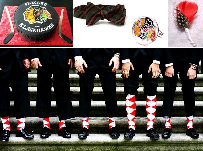 together a red black gold and white Blackhawksinspired wedding theme