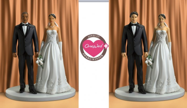 These Renellie cake toppers featuring African-American, Hispanic, and Asian-American brides and groo